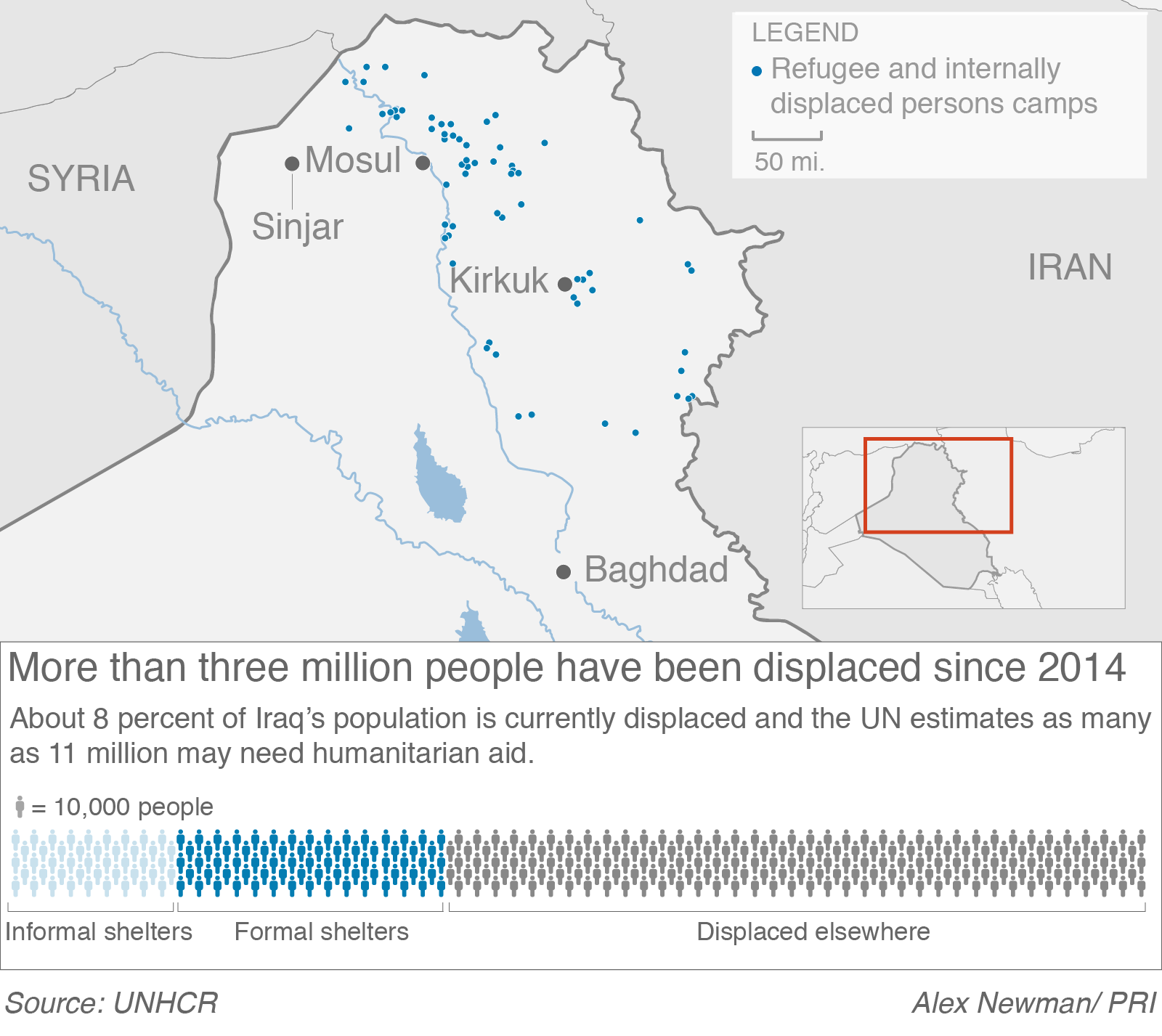 Locations of camps for internally displaced people in Iraq