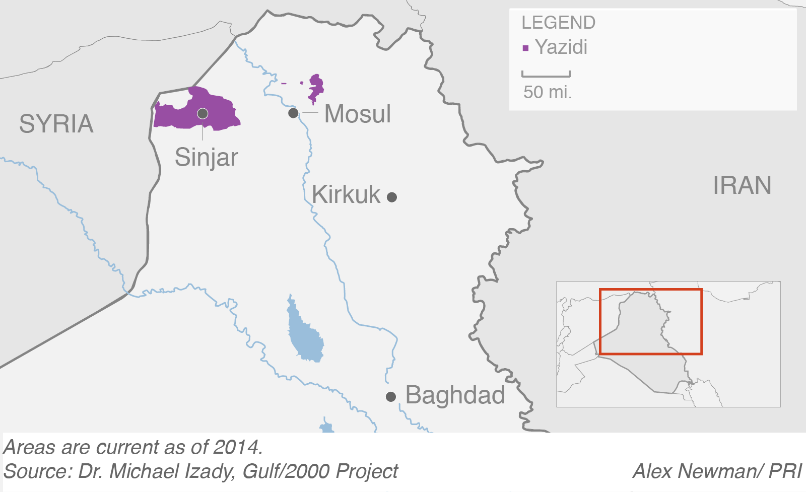 Areas where Yazidi people live